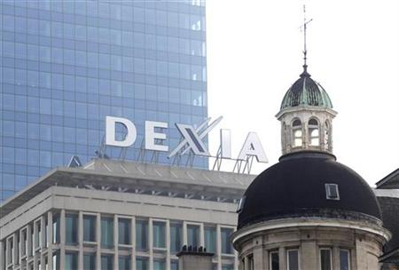 The logo of Belgian-French bank Dexia is seen in central Brussels
