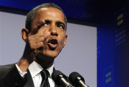 Obama speaks at the Human Rights Campaign's annual dinner in Washington