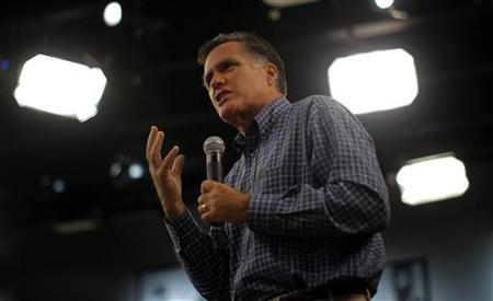 Mitt Romney speaks at a town hall meeting at the New Hampshire Institute of Politics at Saint Anselm College in Goffstown