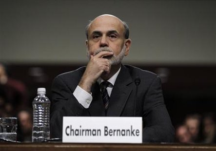 U.S. Federal Reserve Chairman Bernanke is pictured before testifying at a Joint Economic Committee hearing on the economic outlook in Washin