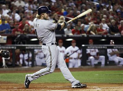 Milwaukee Brewers' Hart hits a solo home run against Arizona Diamondbacks during their MLB Divisional League Series playoffs in Phoenix