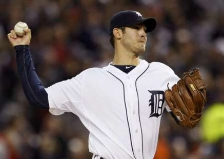 Detroit Tigers starting pitcher Rick Porcello pitches to the New York Yankees during the first inning of Game 4 in their MLB American League Division Series baseball playoffs in Detroit, Michigan, October 4, 2011. REUTERS/Rebecca Cook (UNITED STATES - Tags: SPORT BASEBALL)