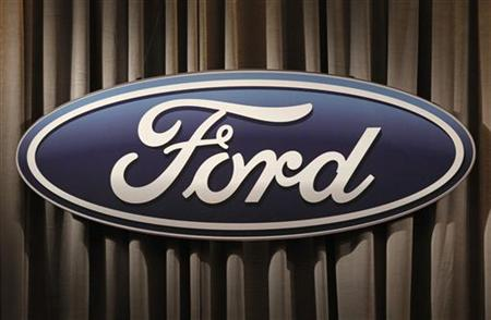 The Ford Motor Company logo is shown during the firm's annual meeting of shareholders in Wilmington