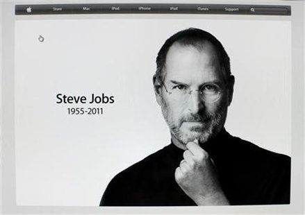 Apple Inc co-founder and former CEO Steve Jobs picture is featured on the front page of the Apple website after his passing