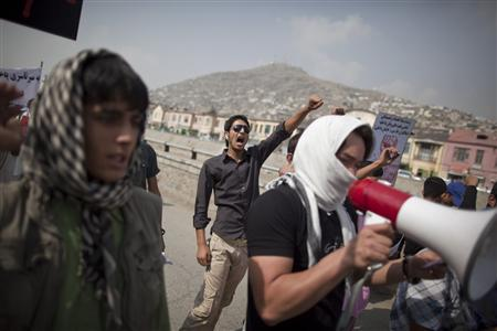An Afghan man shouts anti-U.S. slogans at a protest in Kabul