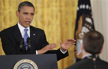 President Barack Obama during a news conference at the White House in Washington