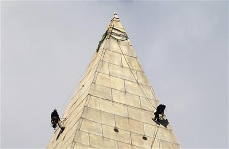 Civil engineers continue their work on the Washington Monument in Washington