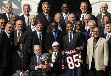 President Barack Obama honors the 1986 Super Bowl-winning Chicago Bears NFL team on the South Lawn of the White House in Washington