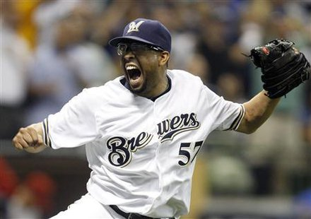 Milwaukee Brewers relief pitcher Francisco Rodriguez celebrates his 3rd out with the Arizona Diamondbacks having the bases loaded in the 8th inning of Game 5 in their MLB National League Divisional League Series baseball playoffs in Milwaukee, October 7, 2011. Credit: Reuters/Jeff Haynes