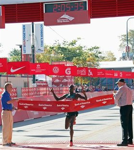 Moses Mosop of Kenya wins the Chicago Marathon