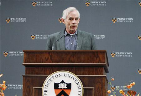 Nobel Prize for Economics winner Professor Christopher Sims of Princeton University speaks during a news conference at Princeton