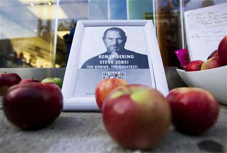 A tribute to Steve Jobs left outside downtown Apple store in Montreal