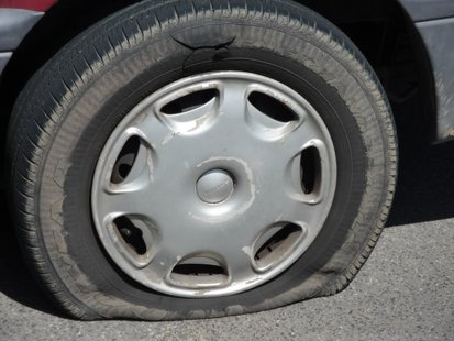 slashed tire