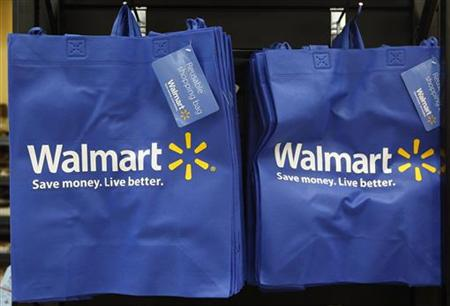 Re-useable Walmart bags are seen in a newly opened Walmart Neighborhood Market in Chicago