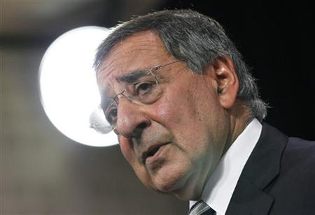 Secretary of Defense Leon Panetta addresses a news conference during a NATO defence ministers meeting at the Alliance headquarters in Brusse
