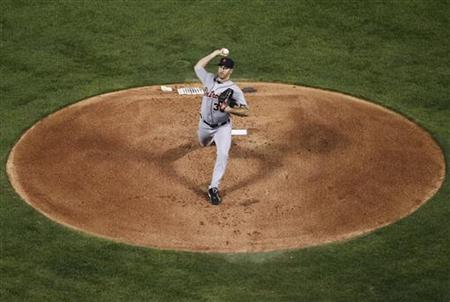 Detroit Tigers pitcher Verlander throws against the Detroit Tigers in the first inning in Game 1 of their MLB American League Championship S