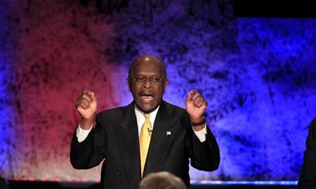 Republican presidential candidate and businessman Herman Cain makes a point while participating in a Republican presidential debate with the