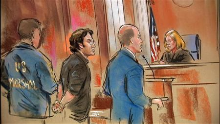 Syrian-born U.S. citizen Mohamad Anas Haitham Soueid appears in Federal Court in Alexandria, VA in courtroom sketch