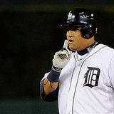 Detroit's Miguel Cabrera celebrates after an RBI double in the fifth inning against the Texas Rangers.