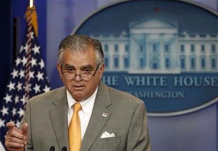 U.S. Secretary of Transportation Ray LaHood speaks during the daily media briefing at the White House in Washington