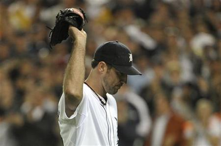 Tigers starting pitcher Verlander acknowledges fans in game against the Rangers in Game 5 in their MLB ALCS baseball playoffs in Detroit