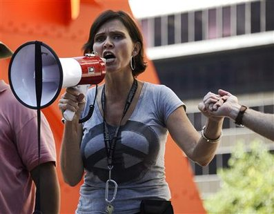 An Occupy LA protester named Nevada speaks at a rally in front of the Bank of America building in Los Angeles