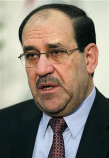 Iraq's Prime Minister Nuri al-Maliki speaks during an interview with