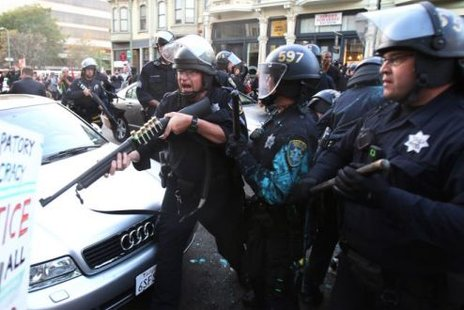 Police at the Occupy Oakland demonstration (Reuters)