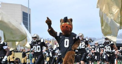 The Broncos march out at Waldo Stadium.  Photo courtesy of wmubroncos.com.