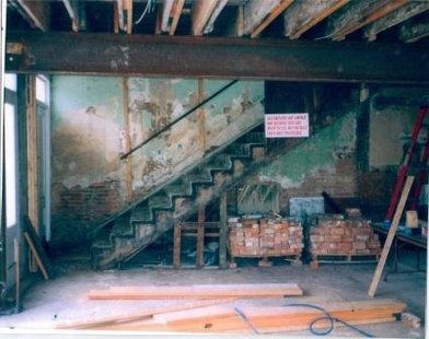 Harlan Hall stairs before renovations (courtesy of Harlanhallmarshall.com)