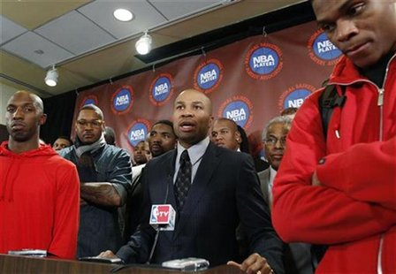 Derek Fish of NBA players association speaks during news conference to reject NBA's latest offer in New York