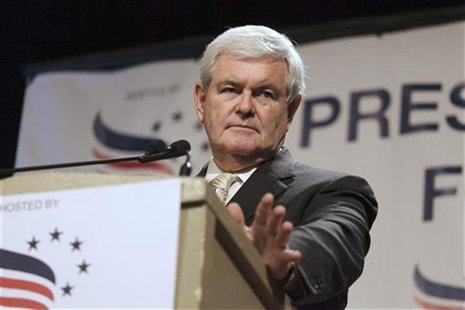 Gingrich, former speaker of the U.S. House of Representatives, speaks at the Iowa Faith & Freedom Coalition's Presidential Forum in Des Moin