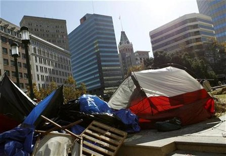 Tents and debris are shown on Frank Ogawa Plaza after protesters with Occupy Oakland were removed in Oakland