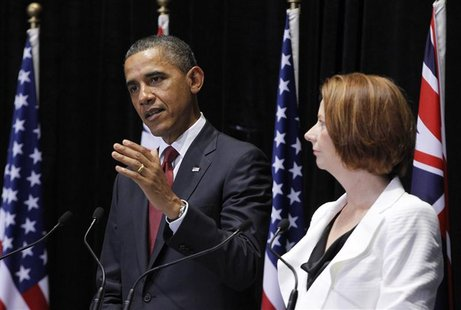 U.S. President Barack Obama and Julia Gillard at a press conference in Canberra