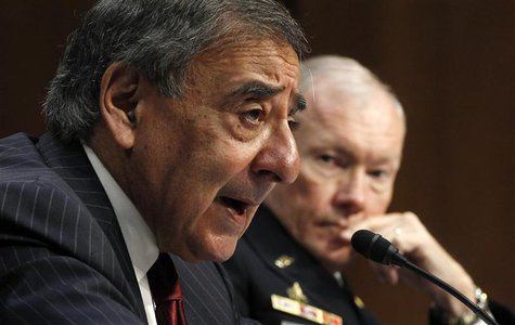US Secretary of Defense Panetta and Chairman of the Joint Chiefs of Staff Army Gen. Dempsey testify at a hearing in Washington