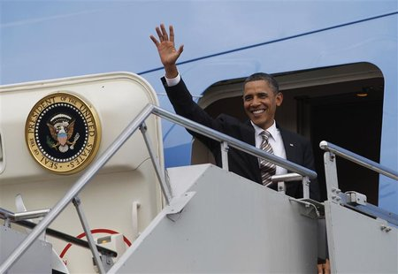 U.S. President Barack Obama departs on Air Force One from the East Asia Summit, in Denpasar, Bali