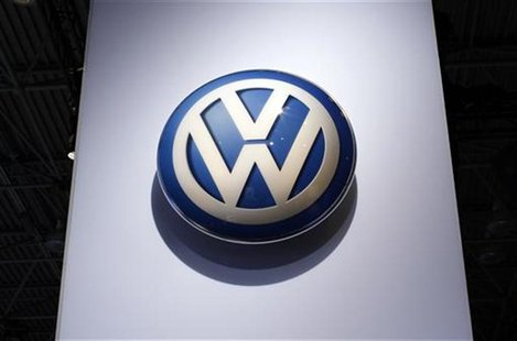 Volkswagen logo on display at New York International Auto Show