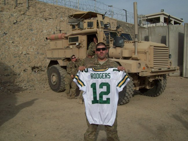 Aaron Rodgers game-warn jersey donated by the Packers.  This was from the Packers vs. Falcons playoff game last season.   The U.S. Soldiers and even Afghanistan authorities are going to sign it for Maino to bring back and give to the Packers.  Maybe Aaron will wear it again for the playoffs this year!!
