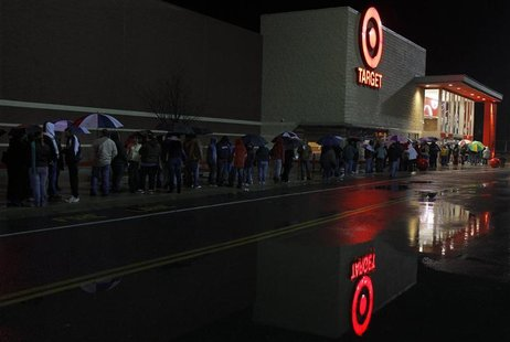 Black Friday shoppers wait for a Target store to open in Lanesborough