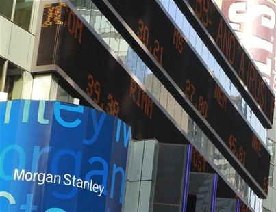 A view of the Morgan Stanley headquarters building in New York's Times Square