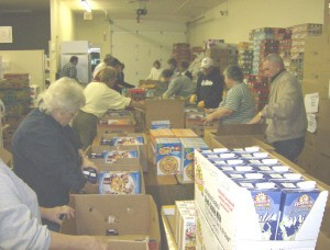 Food Pantry getting ready for Thanksgiving food distribution