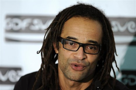 Former French tennis star Yannick Noah attends a news conference at the Paris Open tennis tournament
