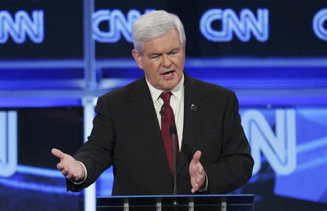 Republican presidential candidate former U.S. House Speaker Newt Gingrich speaks during the CNN GOP National Security debate in Washington