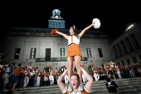 University of Texas students, alumni, and faculty gather on the main mall for the 26th annual Hex Rally in Austin, Texas