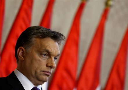 Hungarian PM Orban attends a news conference in Budapest