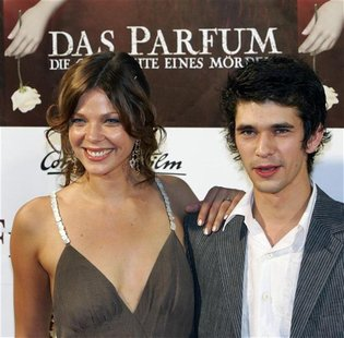 "German actress Schwarz poses with British actor Whishaw before the premiere of the film ""The Perfume"" in Munich"