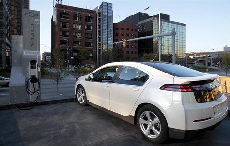 A Chevrolet Volt sits next to a newly installed electric vehicle charging station outside General Motor Co world headquarters in Detroit