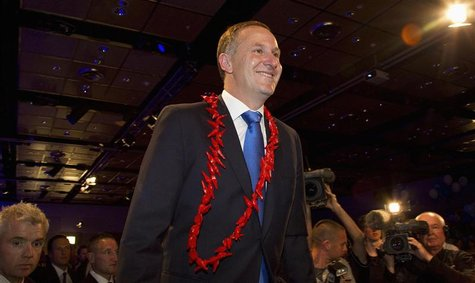 New Zealand's PM John Key smiles after the general election in Auckland