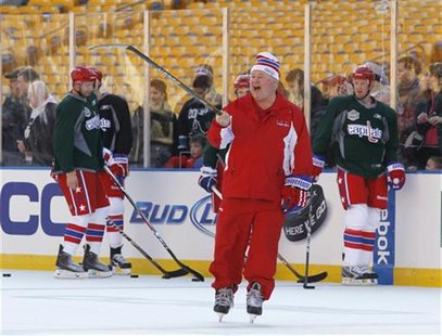 Washington Capitals' Bruce Boudreau shouts during practice for the Winter Classic NHL game against the Pittsburgh Penguins at Heinz Field in