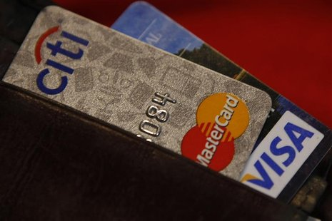 Credit cards are pictured in a wallet in Washington